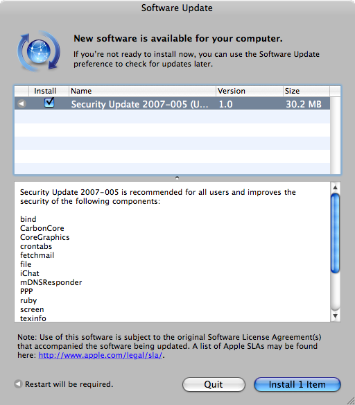 Apple Mac OS X Security Update 2007-005