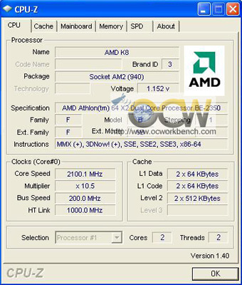 CPU-Z-screenshot van Athlon 64 X2 BE-2350