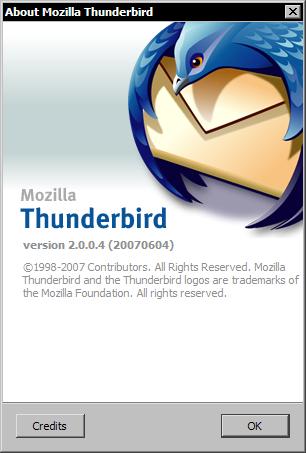 Mozilla Thunderbird 2.0.0.4 - about