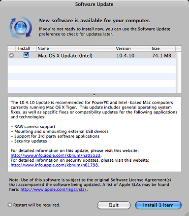 Apple Mac OS X 10.4.10