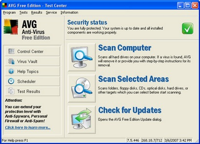AVG Anti-Virus Free Edition 7.5 screenshot (410 pix)