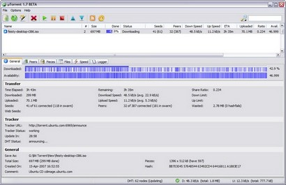 µTorrent 1.7 beta screenshot (410 pix)