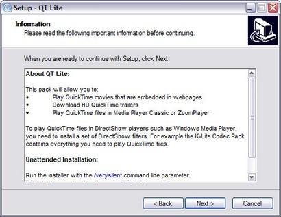 QT Lite installatie (410 pix)