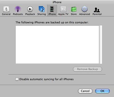 Apple iTunes 7.3 - voorkeuren iPhone