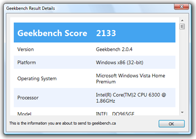 Geekbench 2.0.4 - Result Detail