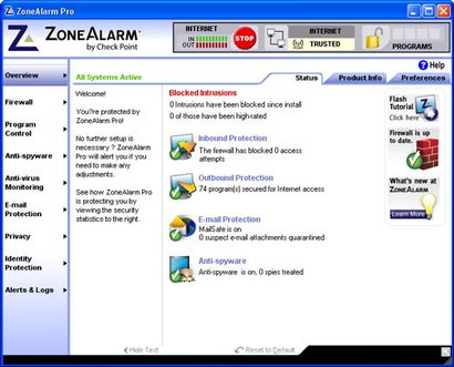 ZoneAlarm 7.0 screenshot (410 pix)