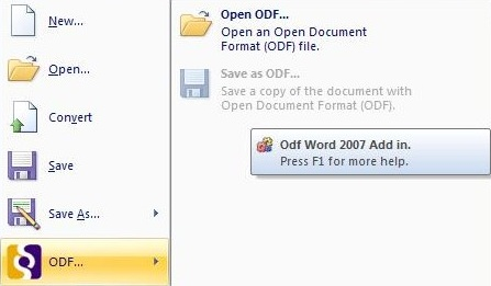 ODF-plugin voor Word 2007