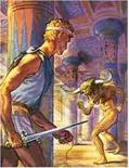Theseus - met de bekende rode draad - in het doolhof van de Minotaurus