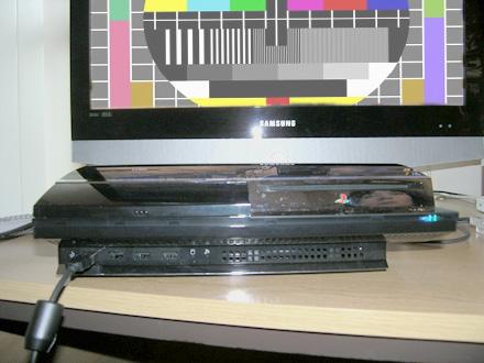 Sony PlayStation 3 met tv-met-testbeeld