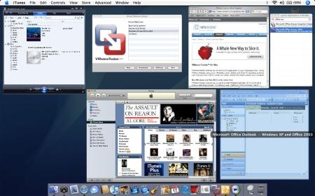 VMware Fusion met Windows-applicatie in Exposé (kleiner)