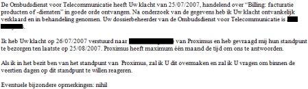Ontvangstmelding Ombudsdienst