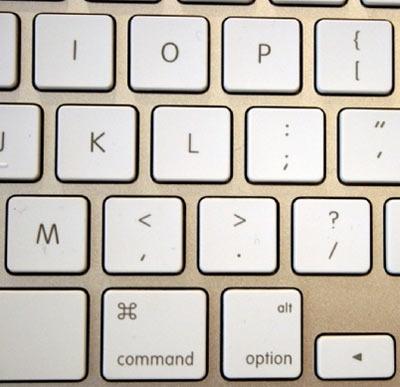 Detail van nieuw toetsenbord iMac