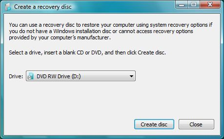 Windows Vista SP1 - Create recovery disk