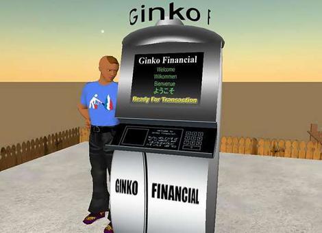 Second Life - geldautomaat van Ginko