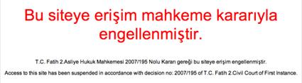 Turkse banmessage Wordpress-domein