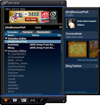 Xfire screenshot met nieuwe skin (410 pix)