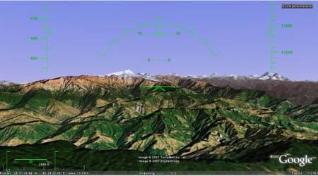 Google Earth vluchtsimulator op Kathmandu