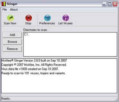 McAfee Stinger 3.8.0 screenshot (410 pix)