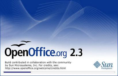 OpenOffice.org 2.3.0 welkomstscherm (410 pix)