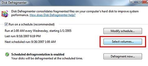 Vista SP1 disk defragmenter