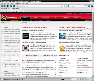 Tweakers.net in Netscape Navigator 9.0 RC1
