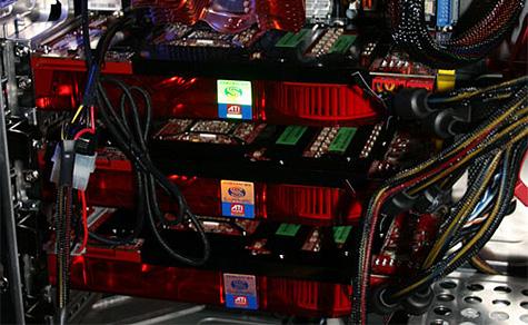 Sapphire crossfire-opstelling met drie R600-videokaarten