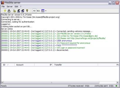FileZilla Server 0.9.24 screenshot (410 pix)