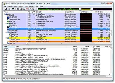 Process Explorer - hoodscherm
