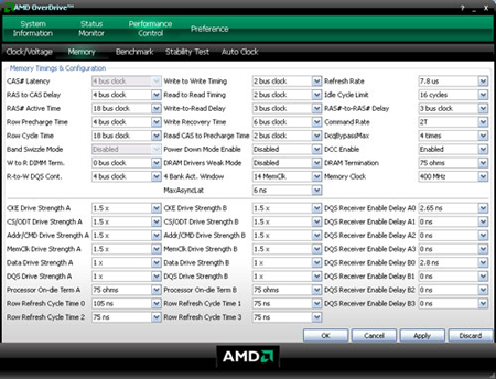AMD Overdrive - Geheugenoverklokscherm