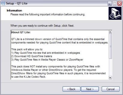 QT Lite 2.0.0 installatie screenie (410 pix)