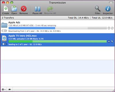 Transmission 0.91 - Mac OS X