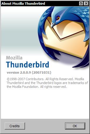 Mozilla Thunderbird 2.0.0.9 - about