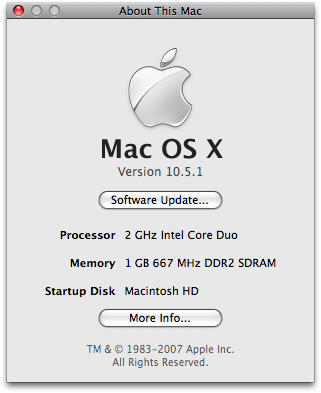 Apple Mac OS X 10.5.1 - about this mac