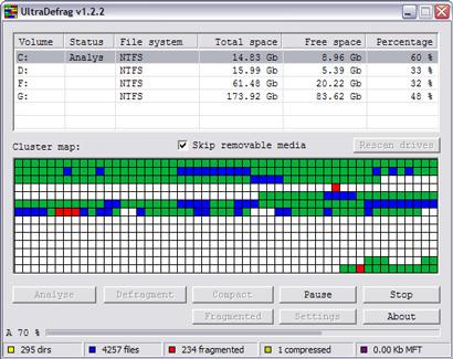 UltraDefrag 1.2.2 screenshot (410 pix)