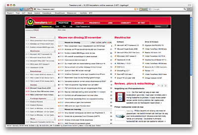 Tweakers.net in Mozilla Firefox 3.0 beta 1