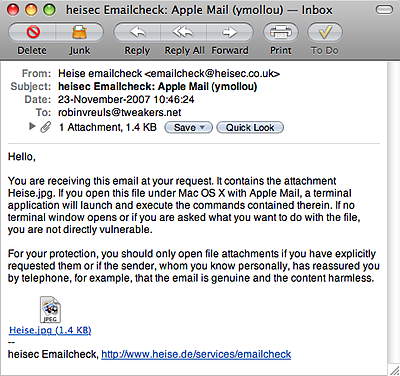 Bug in Leopard Mail.app - test e-mail