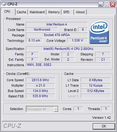 CPU-Z 1.42 screenshot