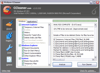 Crap Cleaner 2.03.532 screenshot (410 pix)