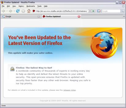 Mozilla Firefox 2.0.0.10 screenshot