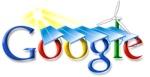 Google-logo met windmolen en zonnepanelen