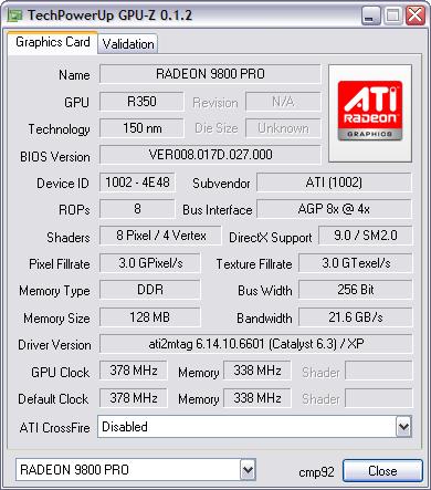 GPU-Z 0.1.2 screenshot
