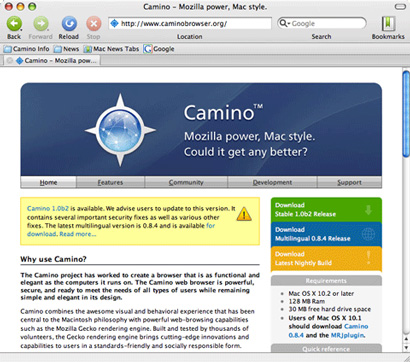 Mozilla Camino screenshot (410 pix)