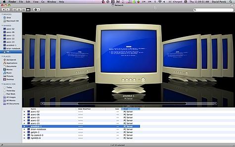 Easter-egg in MacOS X 10.5 virtualisatie - Windows blue screens