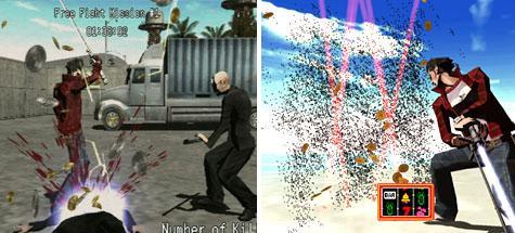 Links: Scene met bloed, Rechts: Gecensureerde versie