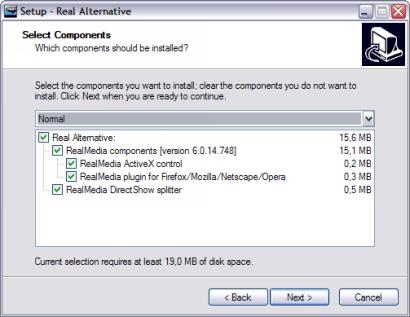Real Alternative 1.70 installatie screenshot