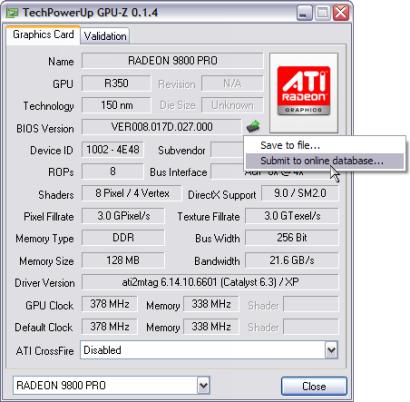 GPU-Z 0.1.4 screenshot - BIOS wegschrijven (410 pix)