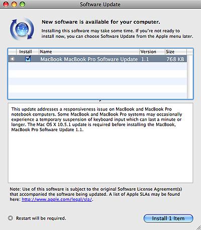 Apple MacBook / MacBook Pro Software Update 1.1
