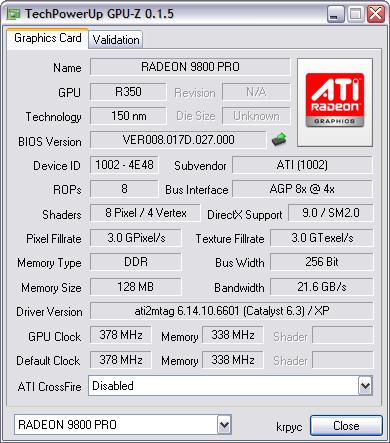 GPU-Z 0.1.5 screenshot