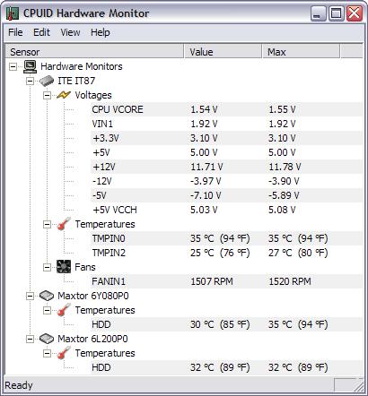 HWMonitor 1.06 screenshot