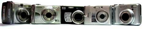 Canon A560, Fuji A920, HP Mz67, Nikon L11 en Samsung S85